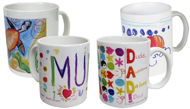 Personalised Mugs with kids art