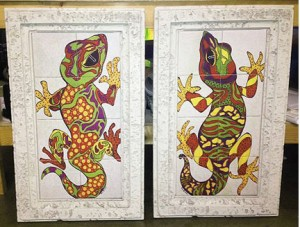Lizards on ceramic tiles