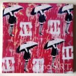 Ceramic Tiles Street Art Girl in the Rain