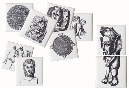 Mosaic Ceramic Tiles displaying mythological and ancient images