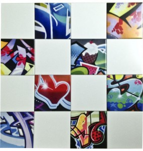 Graffiti wall tiles