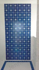 custom blue and white printed tiles