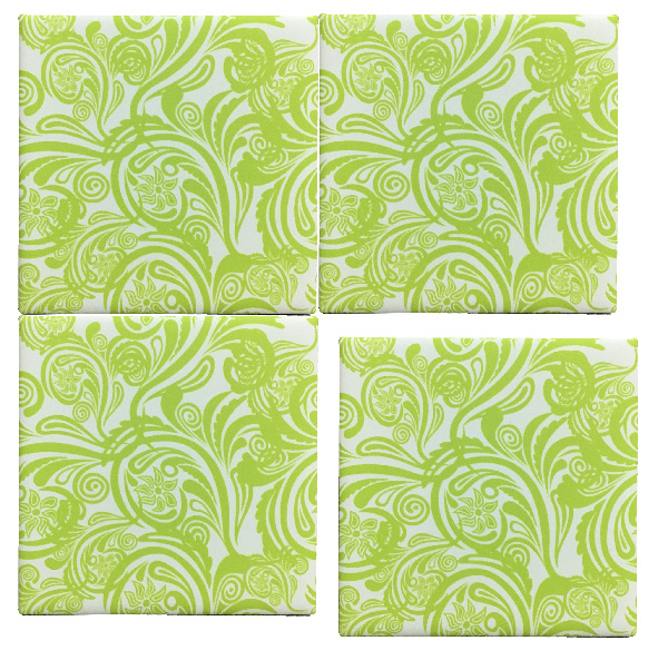 limegreen patterned tiles