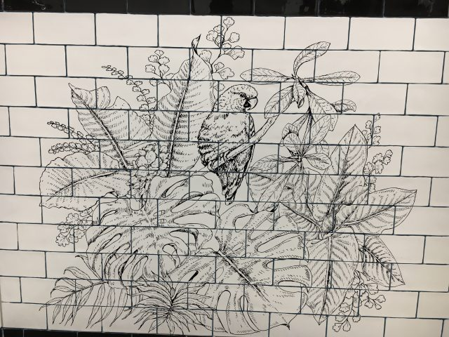 drawing on handmade tiles