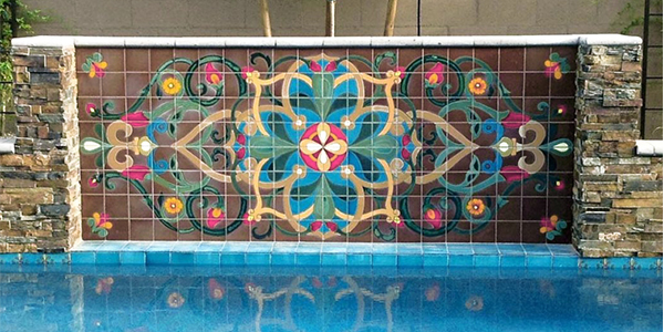 Custom printed pool tiles