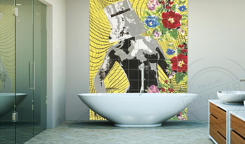 printed tile mural