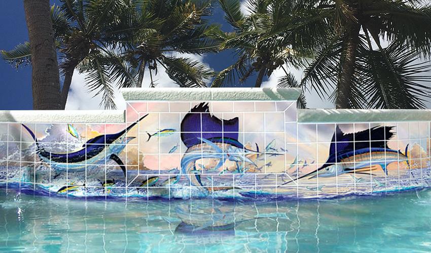 pool feature tiles custom made