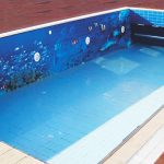 large pool feature tile wall