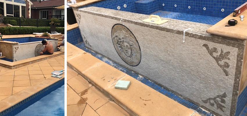 Handmade custom mosaic for pool