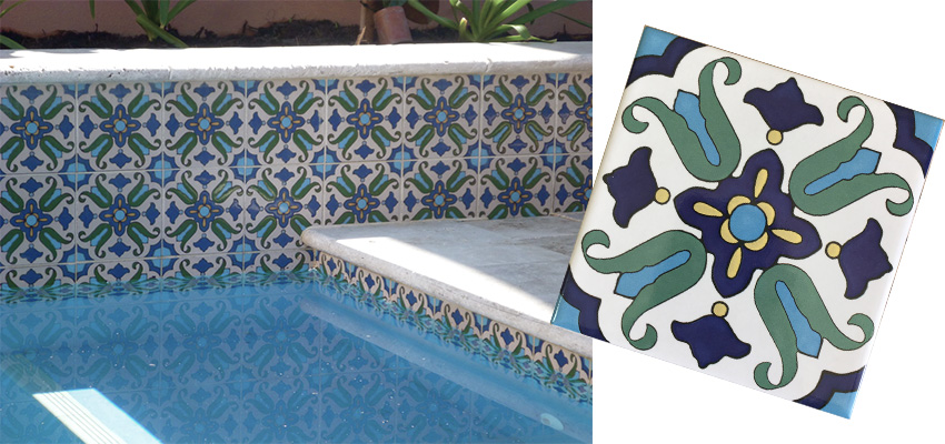 Patterned Waterline Tiles for Pool