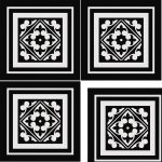Decorative patterned floor tiles