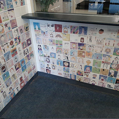 Reception decorated with art tiles